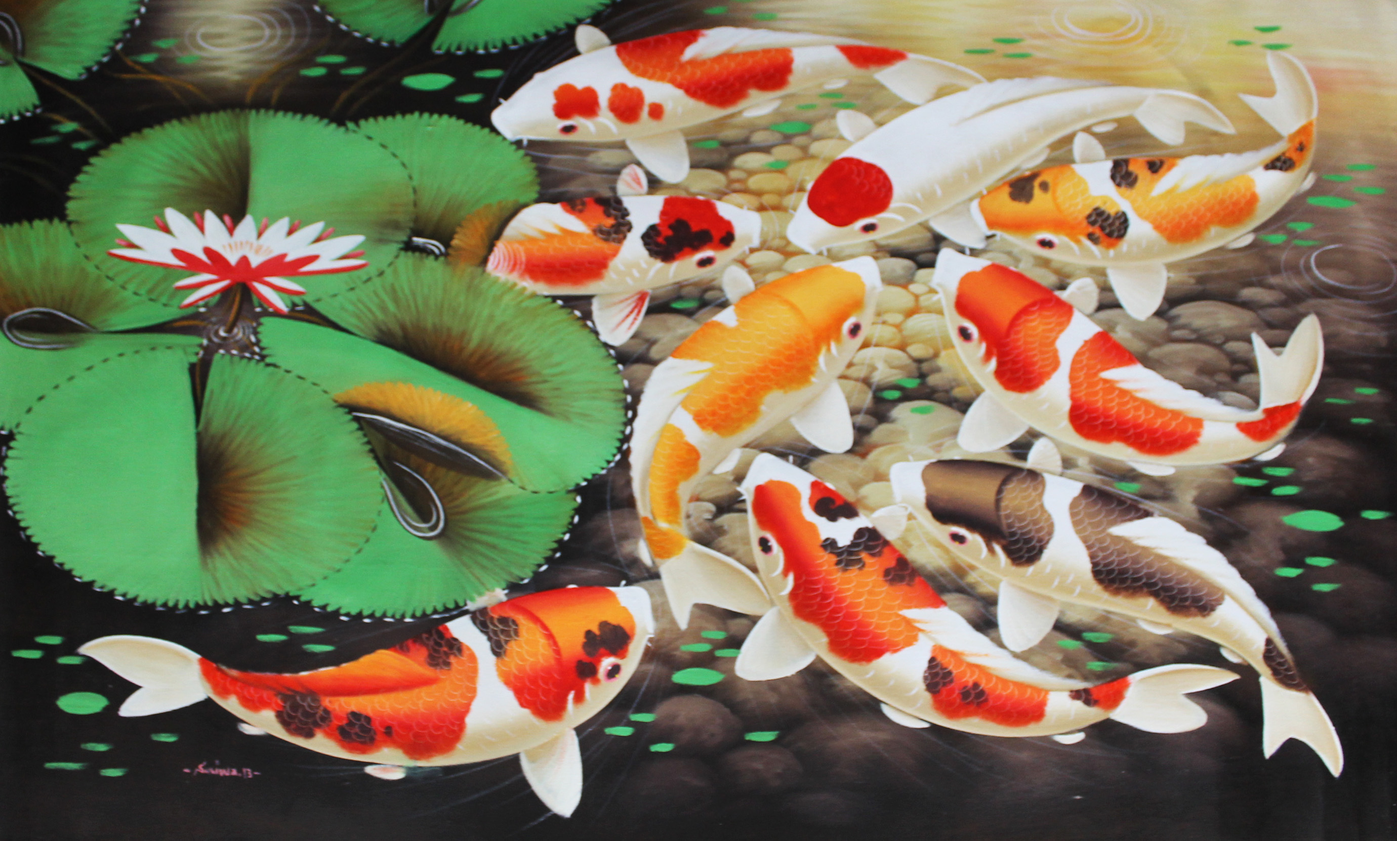 Decorative oil painting meli gallery singapore koi fish for Decorative pond fish